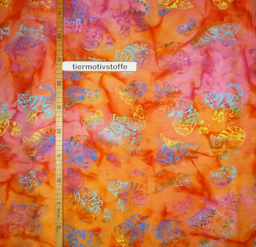 Batik Katzen orange